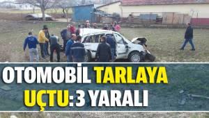 Otomobil tarlaya uçtu: 3 yaralı