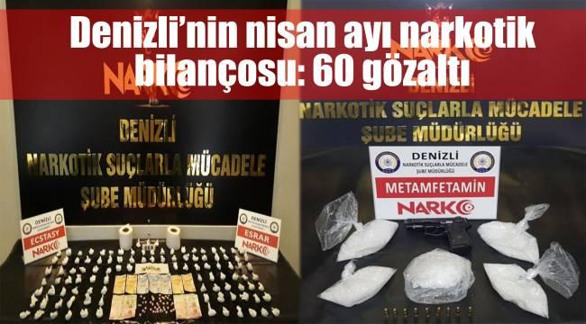 Denizli'nin nisan ayı narkotik bilançosu: 60 gözaltı