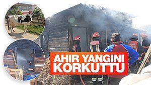 Çal'da ahır yangını korkuttu