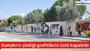 Gençlerin çizdiği grafitilerin üstü kapatıldı
