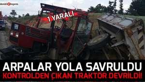 Kontrolden çıkan traktör şarampole devrildi!