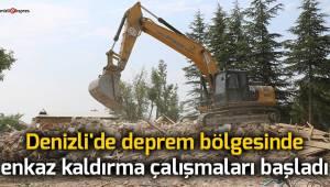 Denizli'de deprem bölgesinde enkaz kaldırma çalışmaları başladı