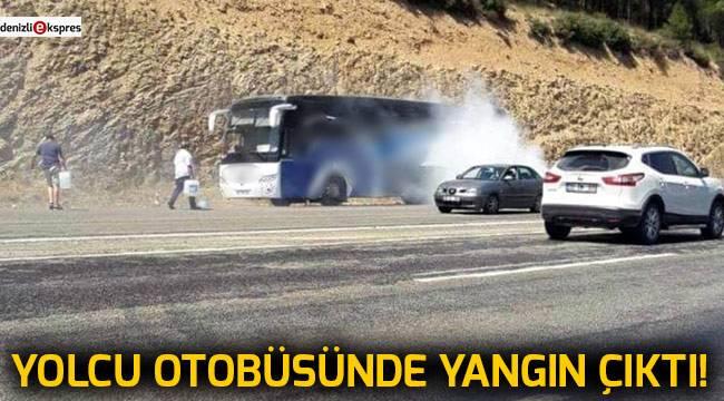 Denizli'de yolcu otobüsünün motoru yandı!