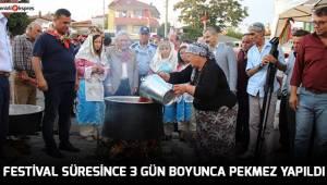 FESTİVAL SÜRESİNCE 3 GÜN BOYUNCA PEKMEZ YAPILDI