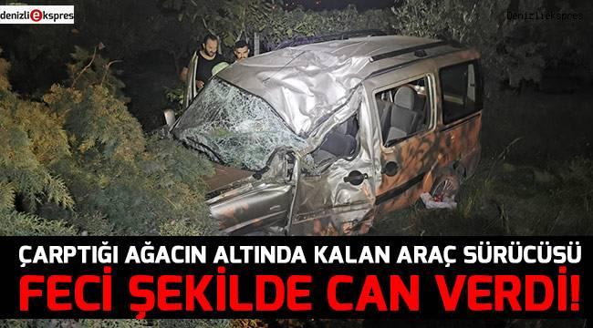Çarptığı ağacın altında kalan araç sürücüsü hayatını kaybetti