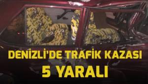 Çivril'de kaza; 5 yaralı