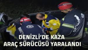Denizli'de devrilen otomobildeki sürücü yaralandı