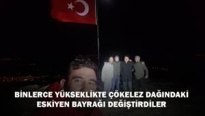 Bin 840 metre yükseklikte Türk bayrağını değiştirdiler