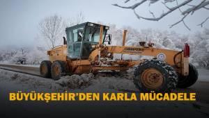 Büyükşehir ekipleri karla mücadelede alarma durumuna geçti