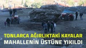 Tonlarca ağırlığındaki kaya mahalleye yuvarlandı halk deprem oldu sandı