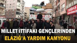 Millet İttifak'ının gençlerinden Elazığ'a yardım kamyonu yola çıktı