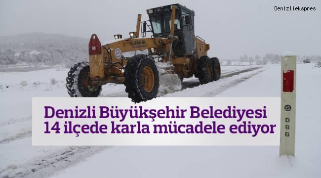 Denizli Büyükşehir belediyesi 14 ilçede karla mücadele ediyor