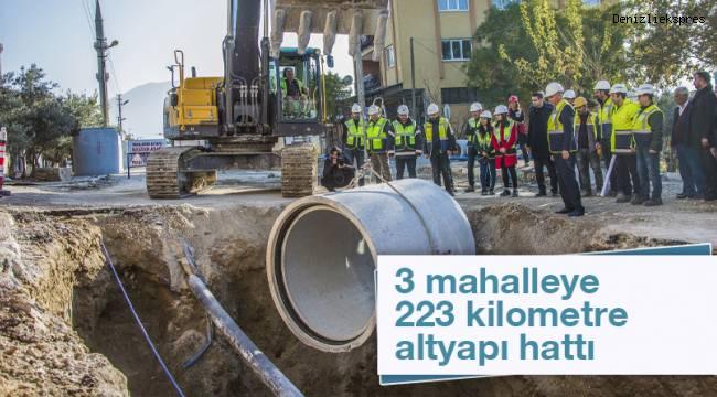 3 mahalleye 223 kilometre altyapı hattı
