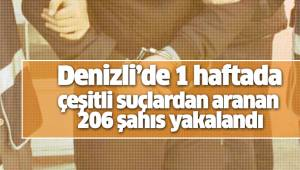 Denizli'de 1 haftada çeşitli suçlardan aranan 206 şahıs yakalandı