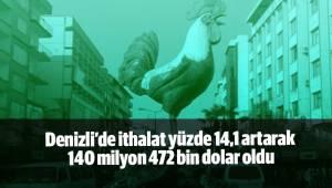 Denizli'de ithalat yüzde 14,1 artarak 140 milyon 472 bin dolar oldu