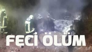 Denizli'deki trafik kazasında alev alan otomobilin sürücüsü öldü