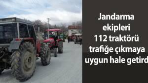 Jandarma ekipleri 112 traktörü trafiğe çıkmaya uygun hale getirdi