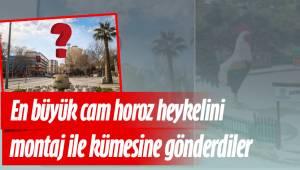 Türkiye'nin en büyük cam horoz heykelini montaj ile kümesine gönderdiler
