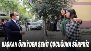 Başkan Örki'den şehit çocuğuna pastalı doğum günü sürprizi