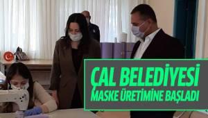 Çal Belediyesi Maske Üretimine Başladı