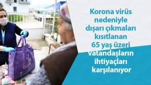 Korona virüs nedeniyle dışarı çıkmaları kısıtlanan 65 yaş üzeri vatandaşların ihtiyaçları karşılanıyor