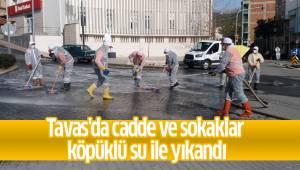 Tavas'da cadde ve sokaklar köpüklü su ile yıkandı