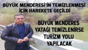 Çal'da Büyük Menderes'in 12 kilometrelik yatağının temizlenmesi için harekete geçildi.