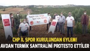 CHP İl Spor Kurulu Avdan Termik Santralini protesto ettiler