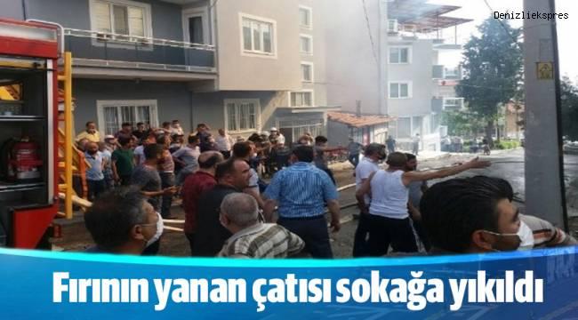 Fırının yanan çatısı sokağa yıkıldı