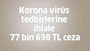Korona virüs tedbirlerine ihlale 77 bin 698 TL ceza