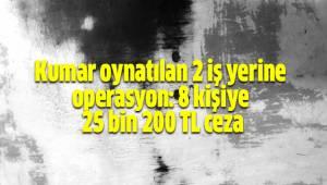 Kumar oynatılan 2 iş yerine operasyon: 8 kişiye 25 bin 200 TL ceza