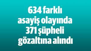 634 farklı asayiş olayında 371 şüpheli gözaltına alındı