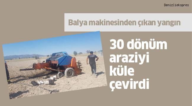 Balya makinesinden çıkan yangın 30 dönüm araziyi küle çevirdi