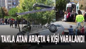 Denizli'de takla atan araçta 4 kişi yaralandı