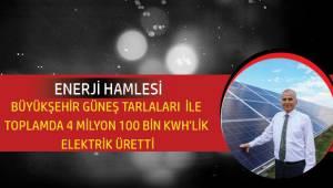 Büyükşehir güneş tarlaları ile 4,1 milyon KWh'lik elektrik enerjisi üretti