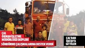 Çal Orman Bölge Müdürlüğüne bağlı ekipler, Hatay'da çıkan orman yangının söndürülmesine destek için bölgeye gitti