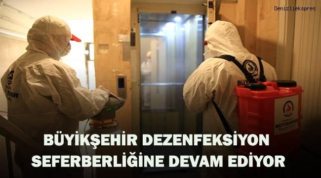 İşyerleri ile vaka olan apartmanların ortak kullanım alanları dezenfekte ediliyor.
