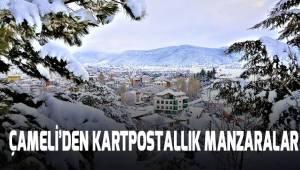 Çameli'de kar yağışından sonra kartpostallık manzaralar