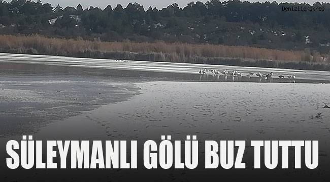 Sıcaklıklar eksiye düşünde Süleymanlı Gölü buz tuttu