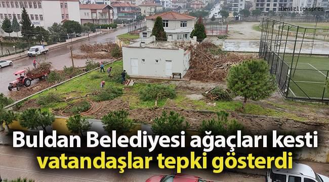 Buldan Belediyesi halı sahanın yanında bulunan ağaçları kesti