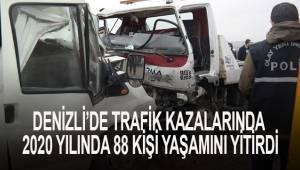 Denizli'de trafik kazalarında 2020 yılında 88 kişi yaşamını yitirdi