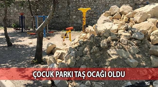 Çocuk parkı taş ocağı oldu