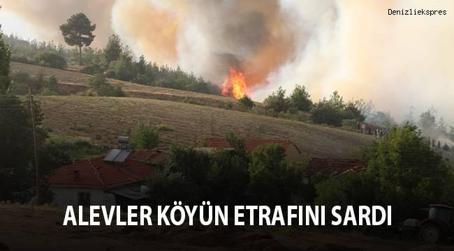 Alevler köyün etrafını sardı