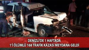 Denizli'de 1 haftada 1'i ölümlü 168 trafik kazası meydana geldi