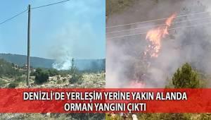 Denizli'de yerleşim yerine yakın alanda orman yangını çıktı