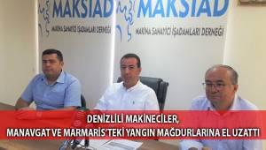 Denizlili makineciler, Manavgat ve Marmaris'teki yangın mağdurlarına el uzattı