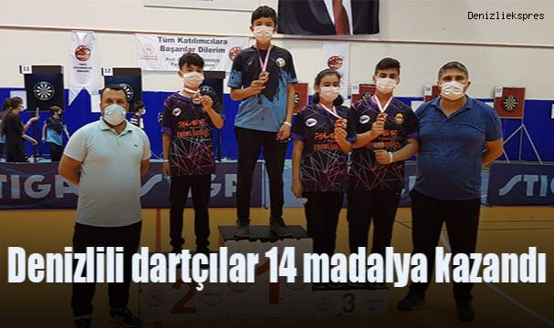 Denizlili dartçılar 14 madalya kazandı